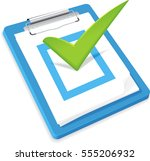 box checked off by big green...   Shutterstock .eps vector #555206932