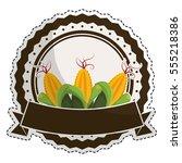 corn vegetable emblem icon... | Shutterstock .eps vector #555218386
