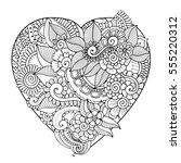zentangle floral heart black... | Shutterstock .eps vector #555220312