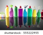 cleaning products. home... | Shutterstock . vector #555222955