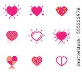 simple green heart vector... | Shutterstock .eps vector #555222976