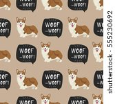 dog welsh corgi pembroke vector ... | Shutterstock .eps vector #555230692