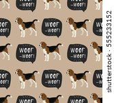 dog beagle vector seamless... | Shutterstock .eps vector #555233152