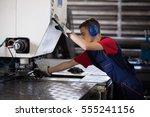 inside a factory  industrial... | Shutterstock . vector #555241156