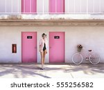 woman walking from abandoned... | Shutterstock . vector #555256582