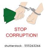 hands in handcuffs. stop... | Shutterstock .eps vector #555263266