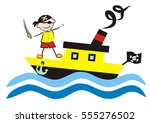 boat and pirate  vector... | Shutterstock .eps vector #555276502