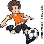 cartoon boy playing soccer. kid ... | Shutterstock .eps vector #55529122