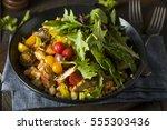 Small photo of Healthy Organic Mediterranean Buddha Farro Grain Bowl with Lettuce and Chicken