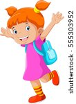 happy little girl with a... | Shutterstock .eps vector #555303952