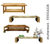 wooden living room tables with... | Shutterstock . vector #555316228