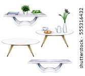 white living room tables with... | Shutterstock . vector #555316432