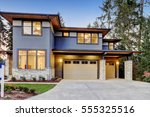 luxurious new construction home ... | Shutterstock . vector #555325516