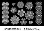 isolated crocheted lace border... | Shutterstock .eps vector #555328912