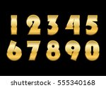 gold 3d metallic numbers set.... | Shutterstock .eps vector #555340168