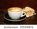 coffee or latte in a coffee cup.... | Shutterstock . vector #555340876