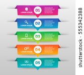 infographics template with five ... | Shutterstock .eps vector #555342388