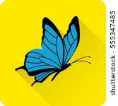 Stock vector butterfly icon in flat style with long shadow on yellow background vector illustration 555347485
