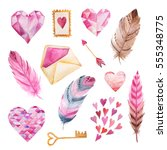 set of hand painted watercolor... | Shutterstock . vector #555348775