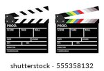 set of two movie clappers  one... | Shutterstock .eps vector #555358132