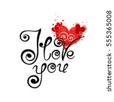 vector card with hearts and... | Shutterstock .eps vector #555365008