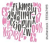 handwritten script font. brush... | Shutterstock .eps vector #555367495