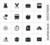set of 16 editable knowledge... | Shutterstock .eps vector #555370045