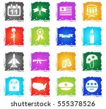 veterans day web icons in... | Shutterstock .eps vector #555378526