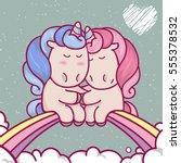 cute unusual cartoon unicorns...   Shutterstock .eps vector #555378532
