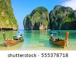 Longtail Boats Anchored At Maya ...