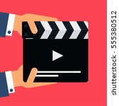 flat movie clapperboard symbol... | Shutterstock .eps vector #555380512