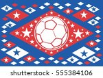 russia flag and soccer ball... | Shutterstock .eps vector #555384106