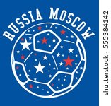 russia flag and soccer ball... | Shutterstock .eps vector #555384142