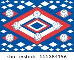 russia flag and soccer ball... | Shutterstock .eps vector #555384196