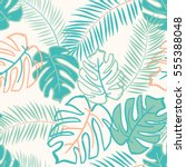 palm and monstera leaves on the ... | Shutterstock .eps vector #555388048