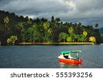 colorful boat at savusavu... | Shutterstock . vector #555393256