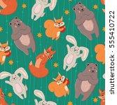 cute forest animals seamless...   Shutterstock .eps vector #555410722