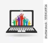 hands up. volunteering concept. ... | Shutterstock .eps vector #555414916