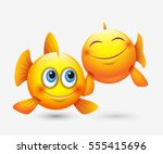 cute pisces emoticons  emoji  ... | Shutterstock .eps vector #555415696