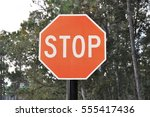 stop sign along the road | Shutterstock . vector #555417436