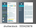 resume and cover letter in flat ... | Shutterstock .eps vector #555425878