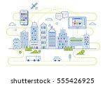 smart city illustration in flat ... | Shutterstock .eps vector #555426925