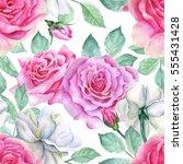 watercolor flower pattern | Shutterstock . vector #555431428