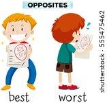 opposite words for best and... | Shutterstock .eps vector #555475462