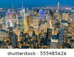 new york city with skyscrapers... | Shutterstock . vector #555485626