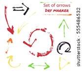 set of hand drawn bright arrows | Shutterstock . vector #555486532