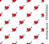 seamless red hearts and arrow... | Shutterstock .eps vector #555493462