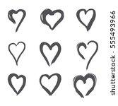 set of black heart in doodle...   Shutterstock .eps vector #555493966