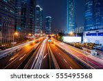 urban traffic with cityscape in ... | Shutterstock . vector #555495568