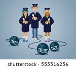 college graduates with their...   Shutterstock .eps vector #555516256